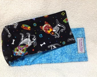 Male Dog Belly Band Diaper Doggie Pet Wrap Pants  Cotton Britches Day Of The Dead  Sugar Skull Pups Fabric Custom Sizes To 30""