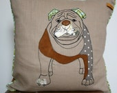 Deluxe personalized pet cushion with piping detail