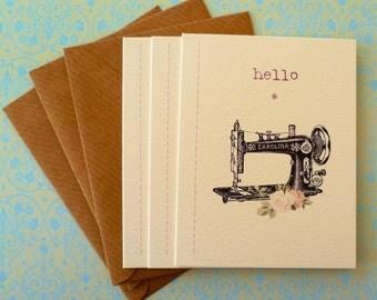 Vintage Sewing Machine Pack of 3 Mini Notecards