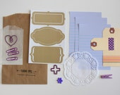 Tag + Embellishment Kit Collection . Purple Lilac . Planner Scrapbooking Mixed Media Mini Album Midori Travelers Notebook Listers Lists