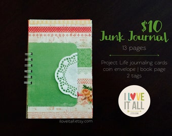 Green Smashbook Scrapbook Mixed Media Art Junk Junque Journal . Christmas Holiday Red Green . December Daily Listing Challenge Lister Lists