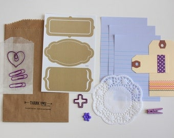 Junk Journal Ephemera Tag + Embellishment Kit Collection Purple Lilac Planner Scrapbooking Mixed Media Mini Album Midori Travelers Notebook