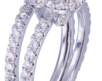 18k White Gold Cushion Cut Diamond Engagement Ring And Band 2.30ct G-VS2 EGL USA