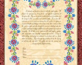 CUSTOM KETUBAH - Personalized Ketubahs - Ketubahs - Jewish Wedding - Wedding vows - Jewish Judaica art print - Folk Floral
