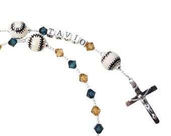 First Communion Baseball Rosary with personalized name - Navy & Gold Catholic Prayer Beads Baptism Christening, gift godparent boys girls
