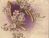 Romantic Floral Vintage Postcard Hearty Greetings Gold Wishbone and Purple Violets 1910
