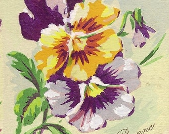 Purple and Yellow Pansies on Vintage Postcard Bonne Fete 1919 Fleurs Aquarellees Pensees Vintage French Happy Birthday Postcard
