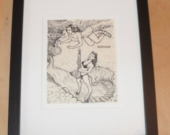 Original do it yourself Doodler drawing by David Jablow #3 Angel and Devil 2010 Framed and Matted Art