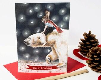 Rabbit with a white Polar bear Christmas card. Snowy seasonal card. Happy Christmas. Vintage Christmas.