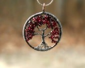 Tree Of Life Necklace, Garnet Tree Pendant, January Birthstone, Family Tree, Lineage, Mothers Gift, Nature, Woodland, Burgundy, Rustic