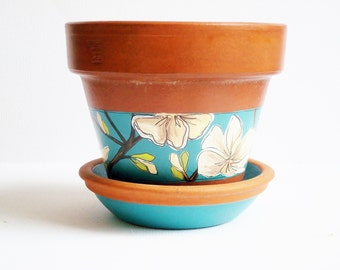 "Hand Painted Flower Pot and Saucer ""Bloomed Collection"" Vintage Terracotta 5 Inch Planter- Ready to Ship"