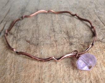 Copper Gemstone Bangle, Amethyst Bracelet, Antique Copper Bangle Bracelet, Moroccan Bracelet, Bohemian Bracelet, Boho Luxe