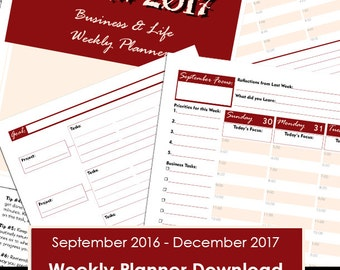 Weekly Business Planner - Digital Download - Business Planner - 2017