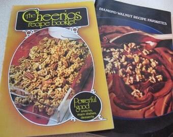 Vintage Advertising Cookbooks The Cheerios Recipe Booklet 1977 and Diamond Walnut Recipe Favorites 1978