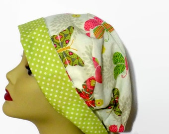 surgical scrub hat,  womens tie back surgical scrub cap butterfly lime green  mini tie back cotton scrub hat pixie scrub hat, chemo cap