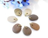 Bulk, Top Drilled Beach Stones with Brass Jumprings 7 pcs, Jewelry Pendants, Eco Friendly Beads, Beach Pebbles