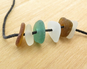 Sea Glass hand drilled 6 pcs-Sea glass beads- Center drilled beach glass- Organic pebbles Jewelry Supplies