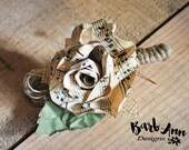 Old sheet music Boutonniere, Vintage Paper Rose Boutonniere for Prom, Weddings, Recitals, or any Special Occasion for Music Lovers