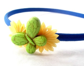 Unique Butterfly Headband with Kanzashi Flowers Blue Yellow Green