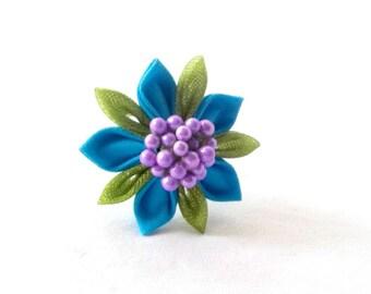 Cute Flower Cocktail Ring Tsumami Kanzashi Adjustable Statement Jewelry
