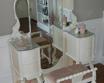 Vanity Set Rare Find Antique White Pearl  1935 Hooker-Basset Beveled Mirrors  Restyled Local Pickup Only KCMO