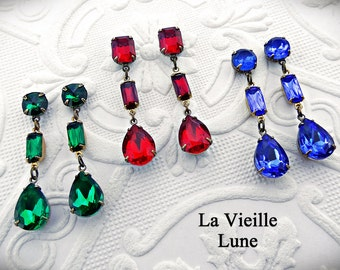 Jewel Victorian Earrings, Drop Earrings, Every Day Jewel Post Earrings, Victorian Jewelry - Choice of Colors and Metals