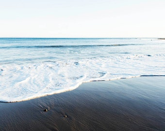 "Coastal Wall Art, Malibu California , Ocean Decor, Blue Gray White Wall Art, Beach House Art, Seascape, Minimalist Beach Art "" Malibu Shore"""