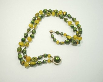 Vintage Necklace, Hong Kong Bead 2 Strand Necklace, Green and Yellow Beads