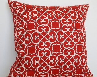 Red Geometric Pillow Cover, Red and White Throw Pillow Cover, 18x18 Inch Throw Pillow, Red Geometric Cushion Cover, Red Barkcloth