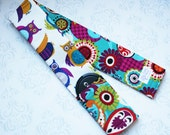 Camera Strap Cover with Lens Cap Pocket, Padded, Reversible, Canon, Nikon, DSLR Photography, Photographer Gift - Owls and Paisley