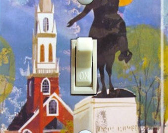 BOSTON Vintage Travel Poster Single Switch Plate  ***FREE SHIPPING***