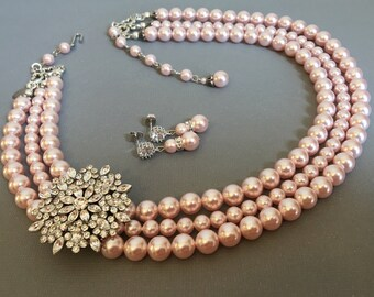 Blush Pearl Necklace Set with Brooch 3 multi strands Swarovski Rosaline Pink pearls Earrings Included  wedding jewelry sets bridesmaid gifts