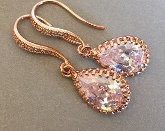 Rose Gold Bridal Earrings Long Pear Shape CZ Rhinestone crystal teardrop bridal wedding earrings crystal chandelier rhinestone earrings