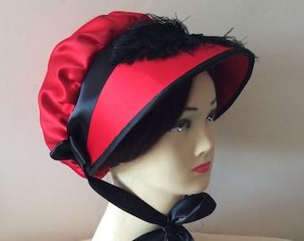 Regency Bonnet. Jane Austen. Scarlet + Black, Ostrich plumes.