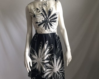 60's Black and White Silk Sleeveless Floral  Pop Art Classy Sophisticate Dress