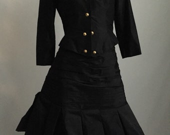 Fabulous Vicky Tiel 80's/90's Powerful Glamorous Black Jacket and Skirt Evening Ensemble