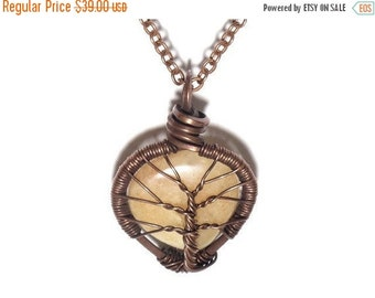 25% OFF Vacation Sale The Encased Peach Aventurine Tear Drop Tree of Life Necklace in Antique Copper.
