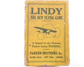 Lindy, The New Flying Game, Vintage Parker Brothers Card Game, 1920s
