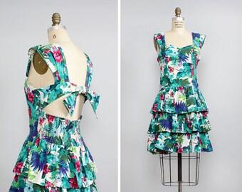 Tropical Dress M • 80s Dress • Ruffle Skirt Dress • Sweetheart Dress • Summer Cotton Dress • Cutout Open Back Dress • Tiered Dress  | D794