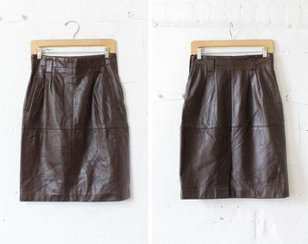 Brown Soft Leather Skirt M • Leather Pencil Skirt • High Waisted Skirt • Buttery Leather Skirt with Pockets  | SK484