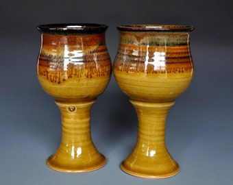 His and Her Goblets Pair of Pottery Goblets Ceramic Wine Goblet Stoneware Chalice AA