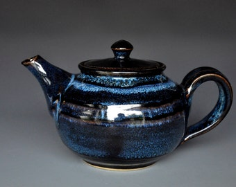 Dark Blue Black  Ceramic Teapot Pottery Stoneware Handmade Tea pot A