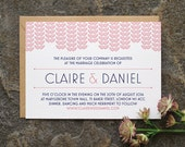 Elegant Modern Wedding Invitation / 'Gatsby' Art Deco Vintage Wedding Invite / Rose Pink Navy Blue / Custom Colours Available / ONE SAMPLE