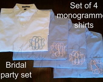 SET OF 4 Monogrammed Button Down shirts, Bride or Bridesmaid, Wedding day party cover ups