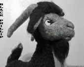 Black Phillip as a KID / Felted Black Billy Goat / Soft Sculpture Needle Felted