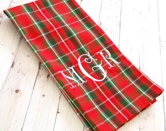 Christmas Tea Towel - Personalized Gift for Friend - Red Plaid with Green and White - Personalized - Christmas Gift - Kitchen Decor