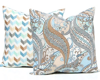 Decorative Pillow Covers - Throw Pillow Covers - Chevron Pillow Covers - Chevron and Paisley - Aqua and Brown - Blue Pillow Covers