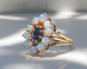 Vintage 10k Solid Yellow Gold, Opal and Natural Sapphire Halo Ring, Size 6.5
