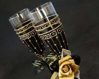 Black and Gold Champagne Flutes, Wedding Glasses, Gatsby Style Glasses, Set of 2