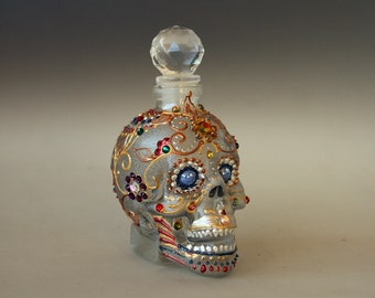 Crystal Scull, Sugar Scull, HAND PAINTED Scull, Day of the Dead, Halloween, Crystal Head, Scull Bottle,